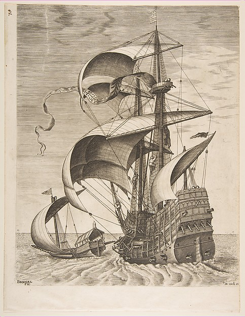 Armed Three-Master on the Open Sea Accompanied by a Galley from The Sailing Vessels
