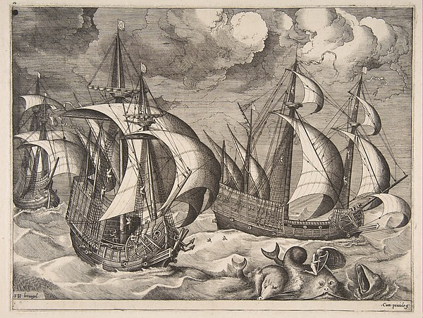 Three Caravels in a Rising Squall with Arion on a Dolphin from The Sailing Vessels
