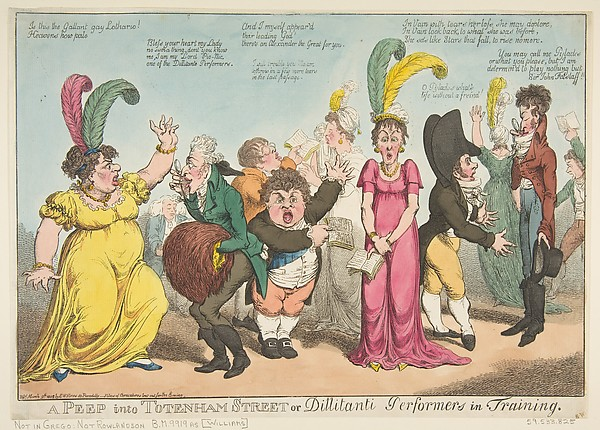 Fascinating Historical Picture of Charles Williams with A Peep into Tottenham Street or Dillitanti Performers in Training on 3/9/1802