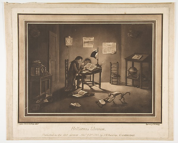 Fascinating Historical Picture of Joshua Kirby Baldrey with Helluones librorum (Bookworms) on 11/10/1786