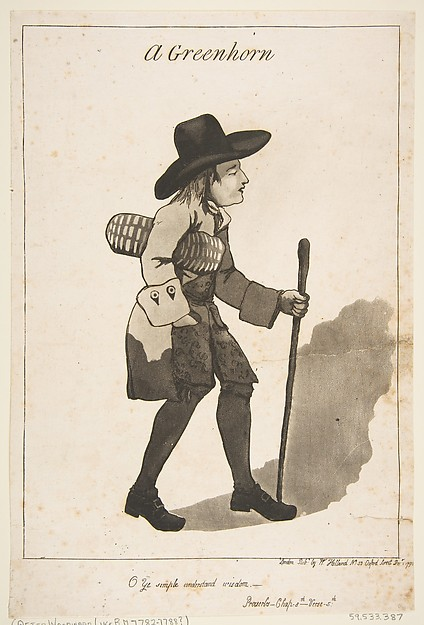 Fascinating Historical Picture of George Moutard Woodward with A Greenhorn on 12/1/1790