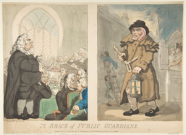 Fascinating Historical Picture of Thomas Rowlandson with A Brace of Public Guardians on 7/10/1800