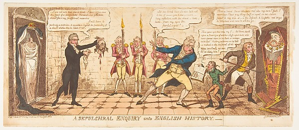 Fascinating Historical Picture of George Cruikshank with A Sepulchral Enquiry into English History on 6/1/1813
