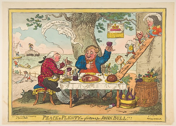 Fascinating Historical Picture of George Cruikshank with Peace and Plenty or Good News for John Bull!!! on 5/25/1814