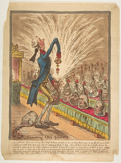 Fascinating Historical Picture of James Gillray with Uncorking Old Sherry on 3/10/1805