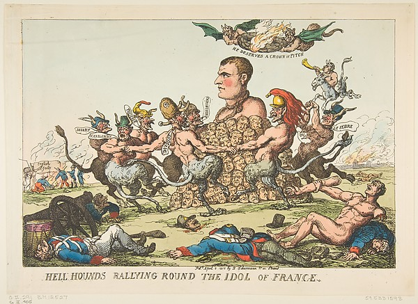 Fascinating Historical Picture of Thomas Rowlandson with Hell Hounds Rallying Round the Idol of France on 4/8/1815