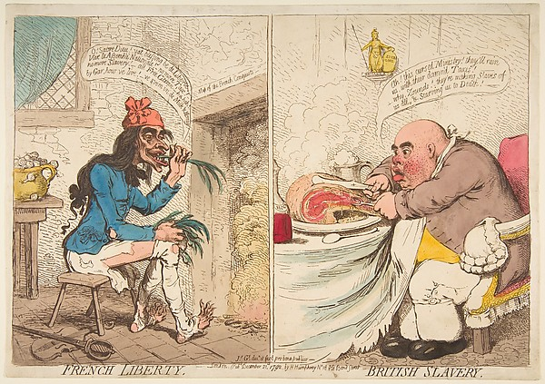 Fascinating Historical Picture of James Gillray with French Liberty  British Slavery on 12/21/1792
