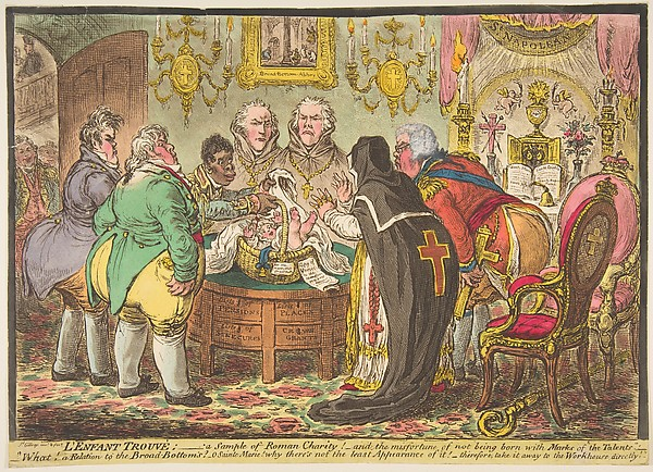 Fascinating Historical Picture of James Gillray with LEnfant Trouv|a Sample of Roman Charity!orthe Misfortune of Not Being B on 5/19/1808