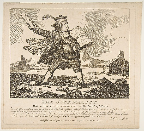 Fascinating Historical Picture of Thomas Rowlandson with The Journalist With a View of Auckinleck or the Land of Stones (Picturesque Beauties of Boswell P on 5/15/1786