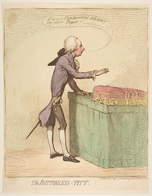 Fascinating Historical Picture of James Gillray with The Bottomless-Pitt on 3/16/1792