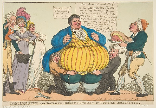 Fascinating Historical Picture of Thomas Rowlandson with Dan-l. Lambert the Wonderful Great Pumpkin of Little Brittain [sic] on 5/4/1806