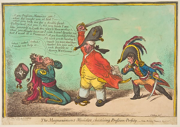 Fascinating Historical Picture of James Gillray with The Magnanimous Minister Chastising Prussian Perfidy.videMorning Chronicle April 28 on 5/2/1806