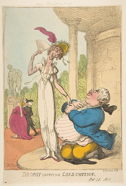 Fascinating Historical Picture of Thomas Rowlandson with Dropsy Courting Consumption on 10/25/1810