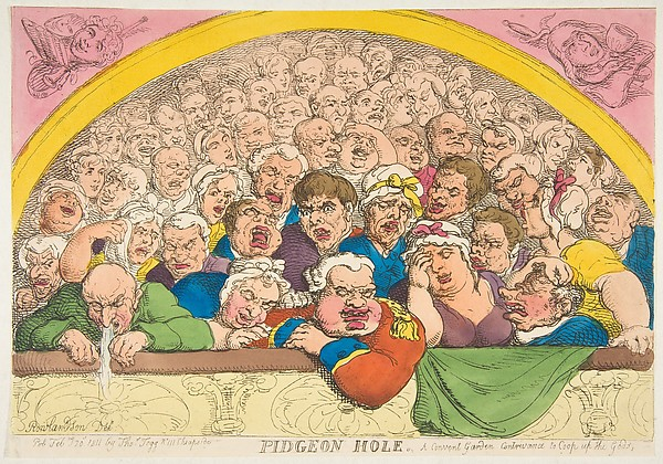Fascinating Historical Picture of Thomas Rowlandson with Pidgeon Hole. A Convent Garden Contrivance to Coop up the Gods on 2/20/1811
