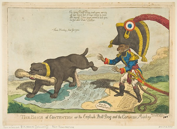 Fascinating Historical Picture of Charles Williams with The Bone of Contention or the English Bull Dog and the Corsican Monkey on 6/14/1803