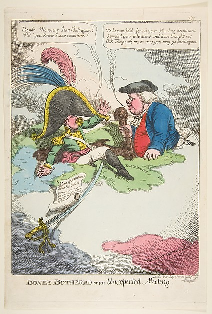 Fascinating Historical Picture of Charles Williams with Boney Bothered or an Unexpected Meeting on 7/9/1808