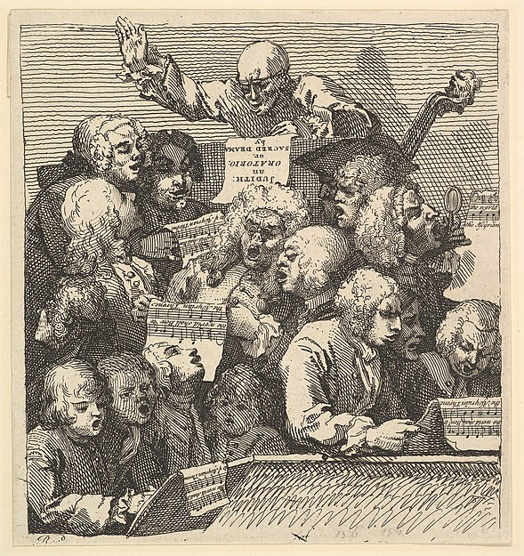 Fascinating Historical Picture of William Hogarth with A Chorus of Singers or The Oratorio on 12/15/1732