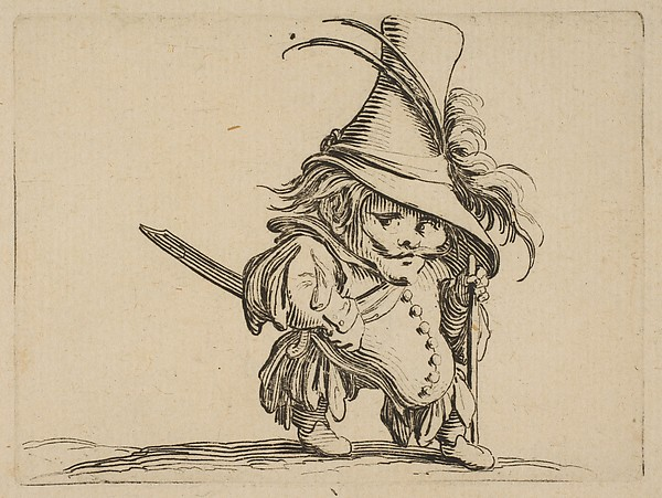 L'Homme au Ventre Tombant et au Chapeau Très Élevé (The Man with a Drooping Belly and a Very Tall Hat),  from Varie Figure Gobbi, suite appelée aussi Les Bossus, Les Pygmées, Les Nains Grotesques (Various Hunchbacked Figures, The Hunchbacks, The Pygmes, The Grotesque Dwarfs)