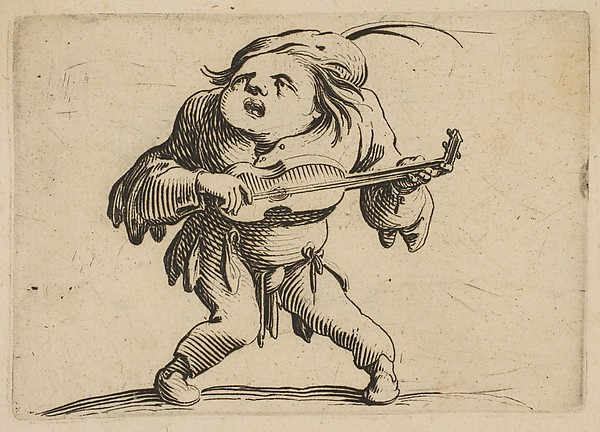 This is What Jacques Callot and Le Bancal Jouant de La Guitar (The Bandy-Legged Man Playing the Guitar) from Varie Figure Gobbi su Looked Like  in 1616