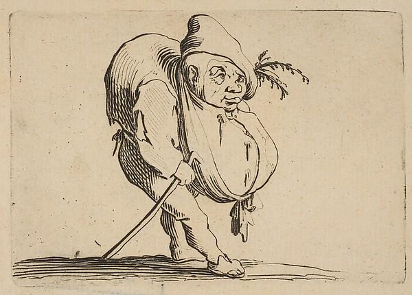 Le Bossu a La Canne (The Hunchback with a Cane), from Varie Figure Gobbi, suite appelée aussi Les Bossus, Les Pygmées, Les Nains Grotesques (Various Hunchbacked Figures, The Hunchbacks, The Pygmes, The Grotesque Dwarfs)