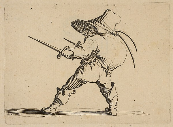 Le Duelliste a L'Épée et au Poignard (The Duelist with a Sword and Daggar), from Varie Figure Gobbi, suite appelée aussi Les Bossus, Les Pygmées, Les Nains Grotesques (Various Hunchbacked Figures, The Hunchbacks, The Pygmes, The Grotesque Dwarfs)