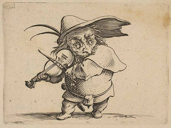 Le Joueur de Violon (The Violin Player), from Varie Figure Gobbi, suite appelée aussi Les Bossus, Les Pygmées, Les Nains Grotesques (Various Hunchbacked Figures, The Hunchbacks, The Pygmes, The Grotesque Dwarfs)