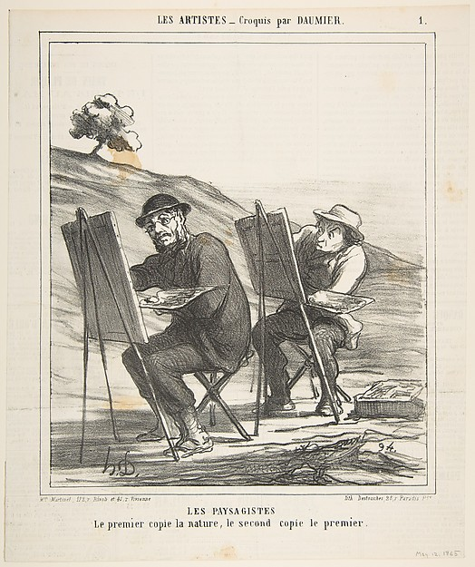 Fascinating Historical Picture of Honor Daumier with Les Paysagistes| Le premier copie la nature le second copie le premier (The first copies nature th on 5/12/1865