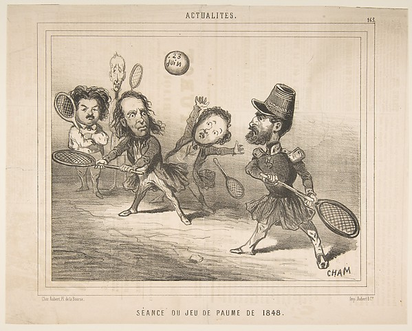 Fascinating Historical Picture of CHAM with Tennis Session of 1848 from Actualits published in Le Charivari on 11/15/1848