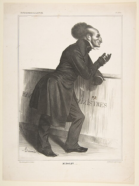 Fascinating Historical Picture of Honor Daumier with Adolphe Jollivet published in La Caricature no. 164 December 27 1833 on 12/27/1833