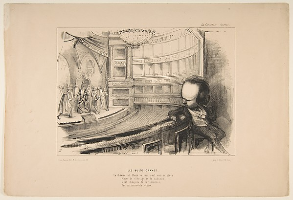 Fascinating Historical Picture of Jean-Pierre Moynet with Les Bulos Graves Victor Hugo at his play Les Burgraves from La Caricature on 4/2/1843