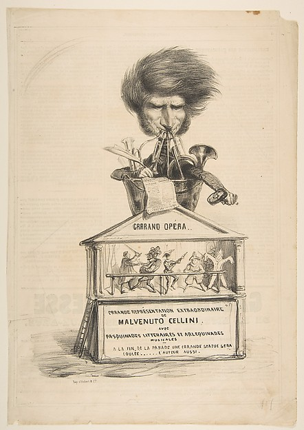Caricature of Berlioz, from La Caricature Provisoire, no. 1