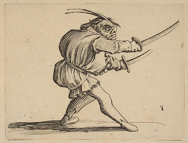 The Duelliste aux Deux Sabres (The Duelist with Two Sabres), from Varie Figure Gobbi, suite appele aussi Les Bossus, Les Pygmes, Les Nains Grotesques (Various Hunchbacked Figures, The Hunchbacks, The Pygmes, The Grotesque Dwarfs)