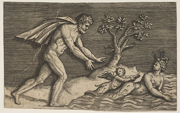 A naked man pursing a naiad and a cupid into the water