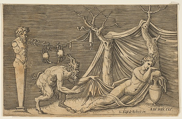 A satyr discovering a sleeping woman; two crabs hanging from a rope which is strung between a term and a tree