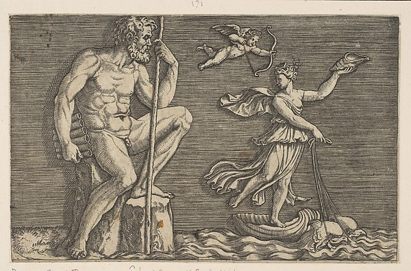 Galatea escaping Polyphemus; he is seated on a rock holding a staff and pipes and looking towards Galatea at right riding a shell pulled by two dolphins, Cupid flying above