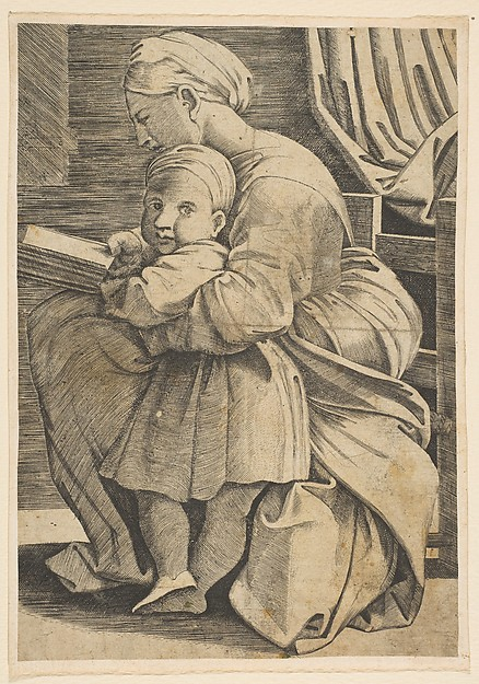 The Virgin reading with the infant Christ; woman seated in profile facing left and reading with an arm around a child who looks out toward the viewer