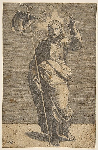 Christ standing facing forward, holding a cross with a banner and raising his left hand