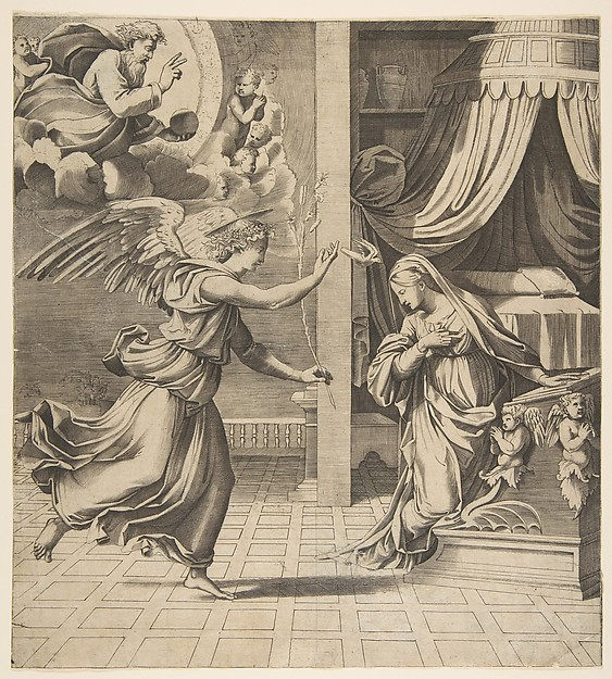 The Annunciation; the archangel Gabriel at left approaching the Virgin kneeling in prayer at right, God the Father in the upper left