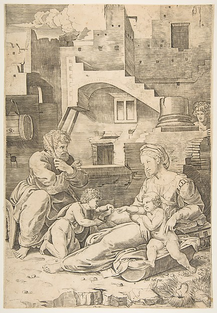 Virgin of the Long Thigh; the Virgin reclining on the ground her left leg outstretched supporting the infant Christ who reaches across to the infant John the Baptist, Joseph seated at left, buildings in the background
