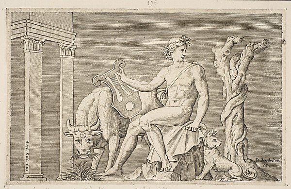 Apollo tending the flocks of Admetus, Apollo seated holding a lyre and flanked by a cow and a dog, a serpent winding around a dead tree at right