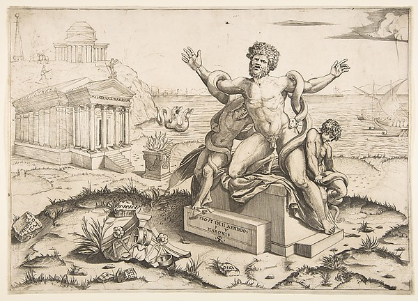 Laocoön and his two sons being attacked by serpents upon a pedestal, a temple to Minerva behind them, another temple and the sea in the background