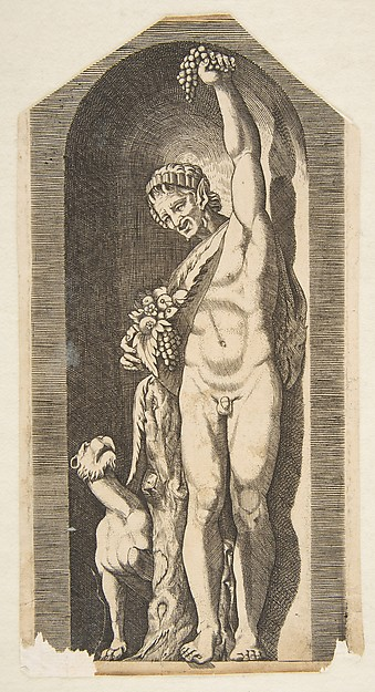 A faun standing in a niche holding aloft a bunch of grapes in his left hand and holding a bundle of fruit in his right hand, a dog lower left