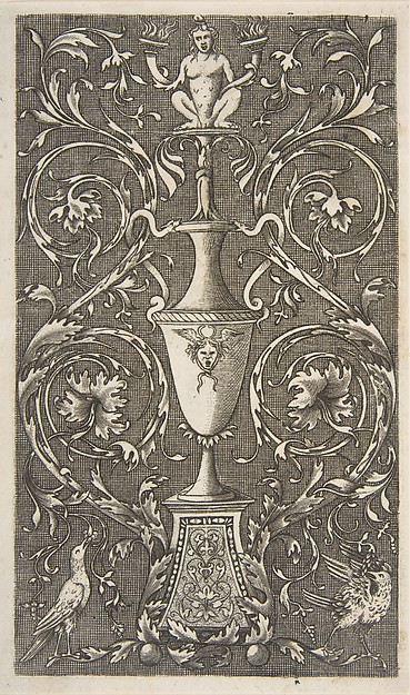 Grotesque with a vase, birds and acanthus scrolls