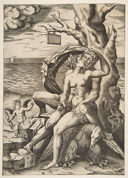 Jupiter And Semele Print Jupiter And Semele Embracing