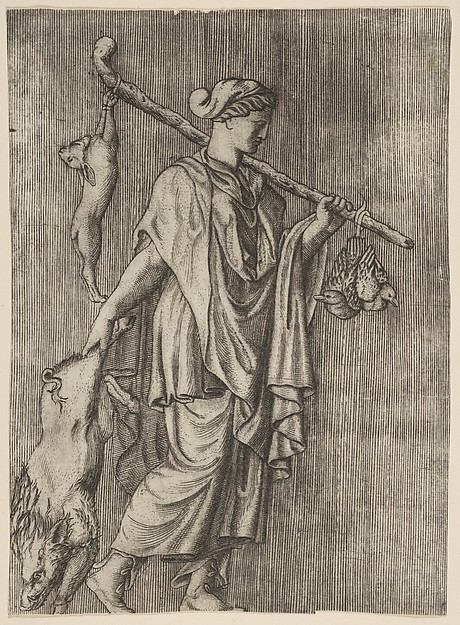 Woman returning from a hunt carrying a boar in her right hand and a stick on her left shoulder to which a hare and two ducks are tied