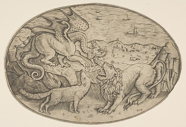 A lion, dragon and fox fighting each other, boats on the sea in the background, an oval composition