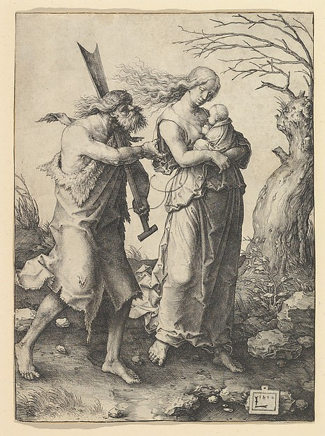 Fascinating Historical Picture of Lucas van Leyden with Adam and Eve after the Expulsion in 1510