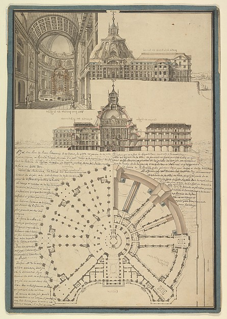 Fascinating Historical Picture of de la Maire with Architectural Drawing for a Chapel and Hospital in 1767