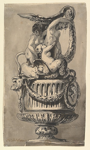 Fascinating Historical Picture of Jean Charles Delafosse with Design for a Ewer in 1734