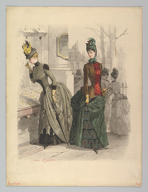 Fascinating Historical Picture of Jules David with Two Women in Day Dresses| Preparatory drawing for a fashion plate from Le Moniteur de la Mode on 10/19/1886